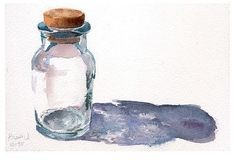 Watercolor painting of a glass bottle w/ cork *I'm not sure of who the artist is to give proper credit to, but I do see that they have their signature in the corner.
