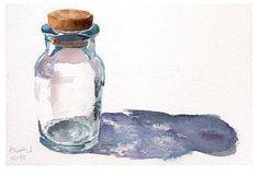 Glass Bottle in Watercolor transparency vidro object Watercolor Artists, Watercolor Sketch, Watercolor Techniques, Watercolor Illustration, Watercolour Painting, Painting & Drawing, Watercolours, Painting Inspiration, Art Inspo
