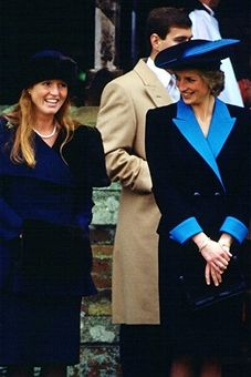 Princess Diana, Princess of Wales and Sarah Ferguson, Duchess of York attend the Christmas service at Sandringham.
