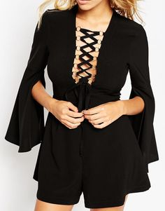 Image 3 ofASOS Woven Playsuit with Lace Up and Ring Detail