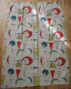 VTG 50s ATOMIC ABSTRACT BARKCLOTH CURTAIN MID CENTURY MODERN RETRO EAMES ERA