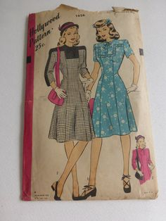 Antique Hollywood Pattern 1626 One Piece Dress Misses Size 16  Factory Fold Unprinted