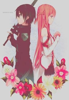 Kirito and Asuna ~ Sword Art Online. I'm totally in love with this anime! Manga Anime, Fanarts Anime, Manga Art, Anime Characters, Schwertkunst Online, Arte Online, Online Anime, I Love Anime, Awesome Anime