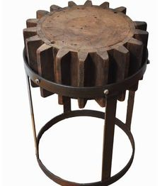 wooden cog end table