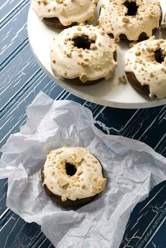 Gluten Free S'Mores Doughnuts- I think I'll toss in some mini chocolate chips and replace the frosting/graham crumbs with a glaze.