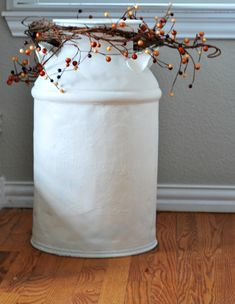 How to Style a Milk Can for Fall - Everyday Edits Garage Sale Finds, First Blog Post, Milk Cans, Back Patio, A Pumpkin, Creamy White, Tree Branches, Christmas Eve, Warm And Cozy