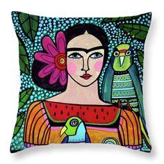 Frida Kahlo perroquets oreiller--coussin Art populaire mexicain par Heather Galler