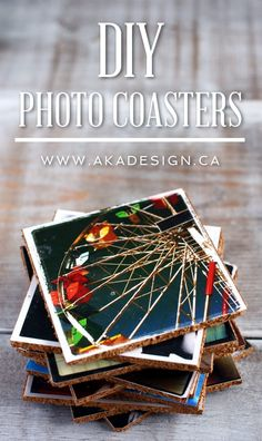 Photo Coasters - Make Your Own Picture Coasters Easy to make, these DIY Photo Coasters will keep your favorite photos nearby and totally display-worthy! Why not make your own picture coasters? Diy Photo, Photo Craft, Diy Projects To Try, Crafts To Do, Photo Projects, Decor Crafts, Picture Coasters, Photo Tile Coasters, Diy Marquee Letters