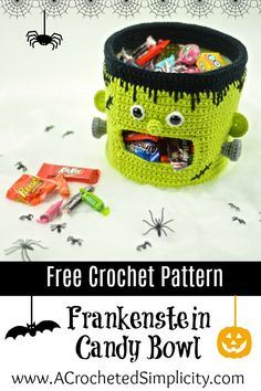 Knitting Patterns Yarn Free Crochet Pattern – Frankenstein Candy Bowl by A Crocheted Simplicity Crochet Fall, Holiday Crochet, Crochet Gifts, Free Crochet, Knit Crochet, Crochet Toys, Frankenstein, Halloween Candy Bowl, Halloween Crafts