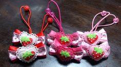 Kids Accessories 即決切手可 ハート苺ドットリボンヘアゴム 水玉ハンドメイド インテリア 雑貨 Handmade ¥150yen 〆05月22日