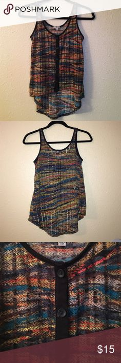 Nordstrom Sheer Printed Tank Nordstrom Lily White soft sheer tank. Shorter in the front than the back. Looks great with shorts. Looks great with a black bandeau and a nude bra is invisible. Size XS. Nordstrom Tops Tank Tops
