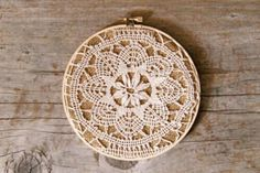 Stretched over burlap in embrodery hoop - hung as picture.