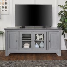 52 in. Antique Grey Storage Console Wood Media TV Stand, Gray
