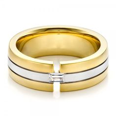 Mens Two-Tone Gold and Diamond Wedding Band