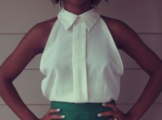Upcycled vintage shirt. I can do this with a man's shirt, too.