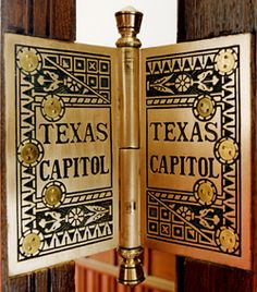 Since 1879, the Texas Legislative has convened for its Regular Session at 12 noon on the second Tuesday in January of each odd-numbered year. The Time of Meeting is codified at Texas Government Code 301.001. [Photo depicts bronze hinge found on doors in the Capitol]
