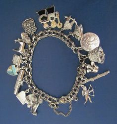 Vtg STERLING SILVER BRACELET 17 CHARMS SWAN BALLERINA PIANO MOVEABLE 47 g EXC!