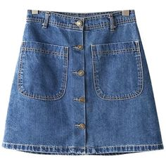 Chicnova Fashion Button Through A-line Denim Mini Skirt (26 AUD) ❤ liked on Polyvore featuring skirts, mini skirts, bottoms, mini skirt, blue mini skirt, high waisted mini skirt, high-waist skirt and short skirts