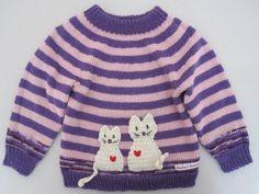 Pigetrøje med kæreste-katte #cat #heart #sweater #gallerigavlen #design #knitting