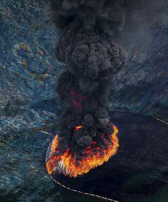 Black volcanic ash plume