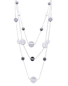 "16"" Long Hammered Metal Multi Layered Necklace - DDN7081-MATTE SILVER & GUNMETAL"