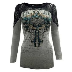 Harley-Davidson Women's Embellished Shirt, Ice Angel Long Sleeve, Gray HD136GRY