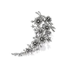 Diamond Brooch, modelled as a branch of blooming flowers, set with brilliant-cut diamonds together weighing approx 7.00 carats, mounted in 18 karat blackened gold.