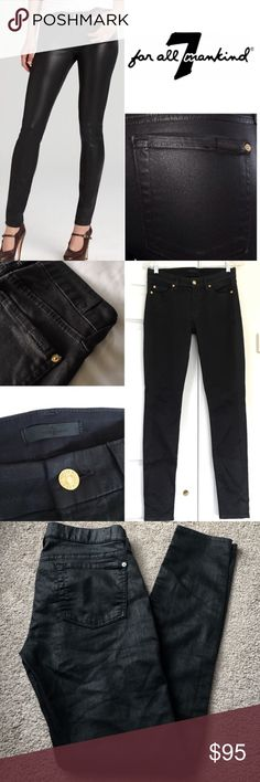 """7 for all Mankind Black Shiny Skinny Jeans 7 for all Mankind 'The Skinny High Shine Gummy Black' jeans. Style AUO150660C. Skinny cut in black stretchy gummy denim w/ a sleek glossy coating. the shine/ texture is actually much more subtle than the name """"high shine"""" The very soft gloss gives the black just the slightest hint of shine for a chic but still versatile look. Gold hardware, signature labels w/ shiny stitching on back pocket. 98% cotton 2% spandex. Size 28. EUC. 7 For All Mankind…"""