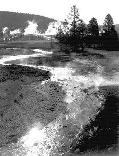 """Central Geyser Basin, Yellowstone National Park,"" vertical, stream winding back toward geyser."