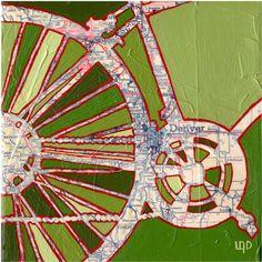 Bike Denver Map Archival Print by Off the Map Art modern artwork