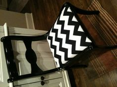 Recovered thrift store chair! You can never go wrong with Chevron patterned anything!!! Just FYI