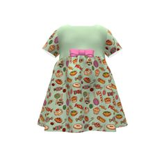 Puperita Hula Hoop Dress made with Spoonflower designs on Sprout Patterns. Perfect pattern for a children's party with candy and pastries drawn on aqua-green background
