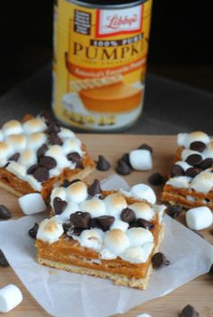 Pumpkin S'mores Bars: ½ C. butter or margarine, 1 can of Libby's Pumpkin(15 oz.), ½ C milk, 1 tsp. Cinnamon, 1 C. of Graham crackers (any brand), crushed (about 11 squares), Approximately 12 graham cracker squares (you may need 1-2 more if using a larger baking dish), 2 C. mini marshmallows, 8 oz. chocolate chips #PumpkinCan