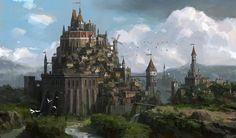 Hilltop Village & Castle farmland Fantasy castle Castle art Fantasy landscape