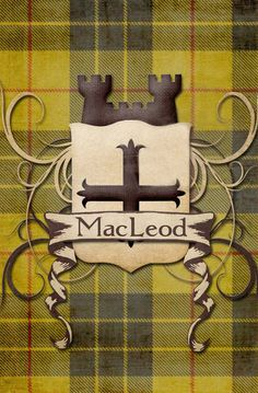 Print with MacLeod Clan Tartan, Shield and Castle