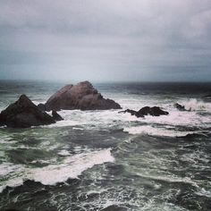 Stormy seas at the cliff house