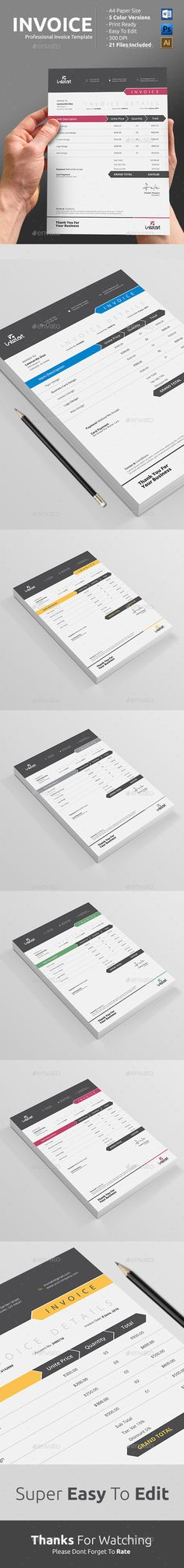 Invoice Template PSD, AI #design Download: http://graphicriver.net/item/invoice/13280533?ref=ksioks
