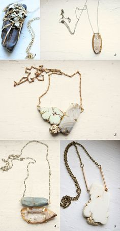 All photos by Theresa Cowan: 1 – Two-million-year-old horste tooth and pyrite / 2 – Herkimer diamond and vintage brass necklace / 3 – Grey agate, freeform chrysoprase, and pyrite necklace / 4 – Brazilian kyanite and Brazilian 'oro' geode necklace / 5 – Magnesite necklace