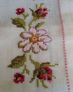 This Pin was discovered by şer Just Cross Stitch, Beaded Cross Stitch, Cross Stitch Borders, Modern Cross Stitch, Cross Stitch Flowers, Cross Stitch Kits, Cross Stitch Designs, Cross Stitching, Cross Stitch Embroidery