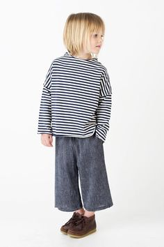 d90fdbe0632 Go Gently Nation   mini stripe Culotte style pant Modern Baby Clothes