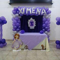Decoracion con globos Princesa sofia  Morado y plata