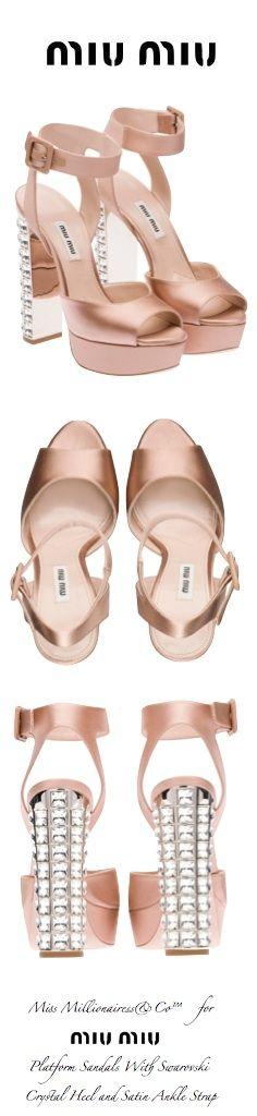 Miu Miu Platform Sandals With Swarovski Crystal Heel and Satin Ankle Strap