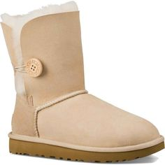 UGG Women's Bailey Button II Sand Boots ($170) ❤ liked on Polyvore featuring shoes, boots, ankle booties, ankle boots, tan, leather bootie, tan boots, tan leather booties, short booties and tan leather boots