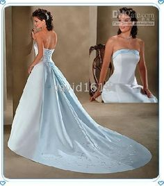 white and baby blue wedding dresses