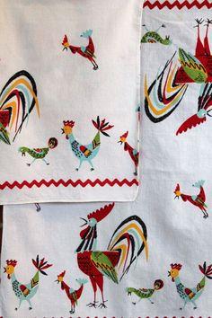 Vintage linens Rooster towels