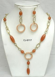 beaded necklace | Product Name : Glass Bead Necklace with Earing
