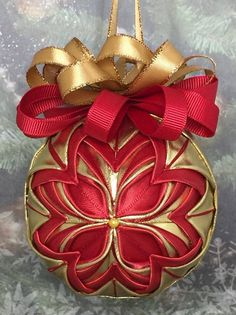 Handmade no sew Quilted ornament, red and gold.  I used double sided ribbon which was a lot of fun!