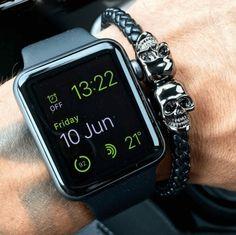 Gun Black Skull Leather bracelet
