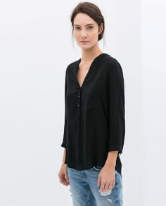 Blouse With Shoulder Applique by Zara