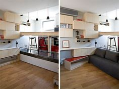 Parisian bathroom converted into comfortable 130 sq. ft. micro-apartment : TreeHugger  Bed pulls partway out to make a sofa, all the way in when living area becomes work space.  If the dining bar is counter height, it can be kitchen workspace. You got to have the work space.
